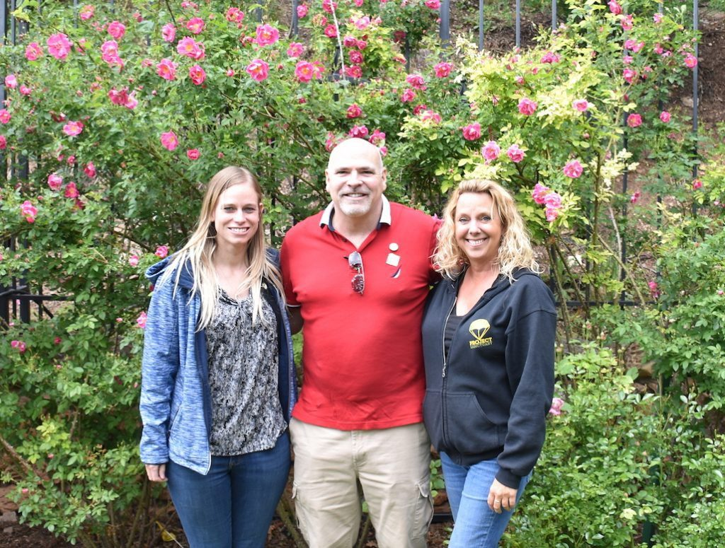 From left to right: Project Sanctuary Program Coordinator Sharon Harris, CTRS; Chief of Support Thomas Costello, LCSW; and CEO/Founder Heather Ehle.