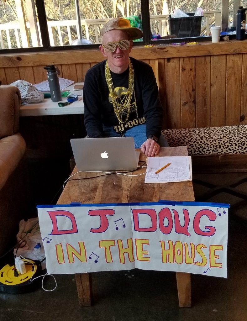 "Doug's alter ego, ""DJ Doug,"" hosts lip sync night at Retreat 170 in Texas in May 2019."